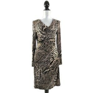 Lafayette 148 Dress Animal Print Form Fitting